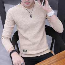 Mens long-sleeved T-shirt jumper 2019 Spring New Korean edition trend spring and autumn shirts with velvet knitwear sweater