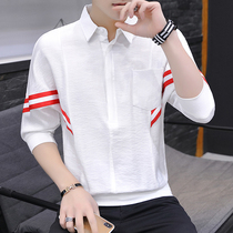 Summer mens short-sleeved shirt loose seven-point sleeve thin shirt in the sleeve five-point sleeve clothes trend T-shirt compassionate