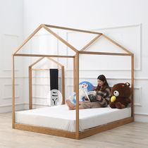 Nordic solid wood house childrens bed white oak walnut simple bedroom green floor bed creative ins childrens room