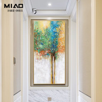 Tree of life entrance entrance decorative painting living room vertical edition pure hand-painted oil painting abstract entrance corridor aisle murals