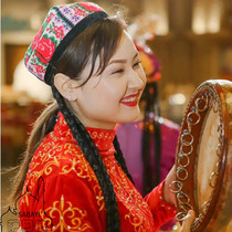 Xinjiang ethnic musical instrument Uyghur real wood high-grade cowhy hand drum 40 cm standard Xinjiang hand drum.