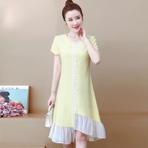 Large size womens 2020 new stitching mesh loose irregular summer lace cover fat mm dress.