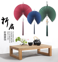 China wind hanging fan wall decoration large Chinese pendant tassel wall decoration living room entrance wall decoration fan