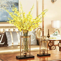 Nordic Light Luxury ins metal vase ornaments home living room table flower simulation glass transparent flower decoration