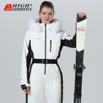 To the high womens sports wear single board double board repair plus velvet ski suit womens set outdoor snow country equipment.