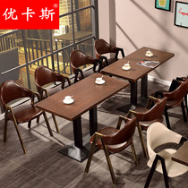 Simple cafe table and chair combination theme Western Restaurant dessert milk tea casual snack hotel fast food tables and chairs wholesale