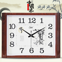 Kangbasi mute living room wall clock square Chinese clock simple fashion wall table creative clock modern quartz clock