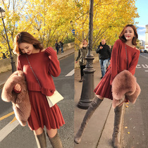 Fat mm foreign gas set sweater fat woman big size female winter clothes fat sister dress net red two pieces set thin