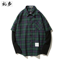 Fake two-piece plaid shirt male long-sleeved teen Korean tide brand student casual shirt slimming bottom inch dress man
