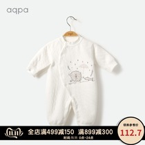 aqpa infant padded jumpsuit autumn and winter female baby long sleeve ha clothing male newborn out to climb clothing air conditioning clothing