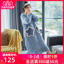 Nightgown women autumn and winter three-layer padded thickened cashmere pajamas coral fleece nightgown warm Stars extended bathrobe