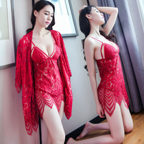 Female summer sexy pajamas sexy clothes hot adult thin section perspective passion set lace sexy lingerie nightdress