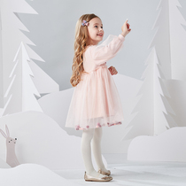Girls autumn new 2019 Western childrens dress long-sleeved baby princess dress autumn Pompon skirt