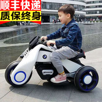 Childrens electric motorcycle boy girl baby tricycle double drive children toys car can sit people charge large