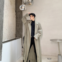 Autumn and winter dress niche design paragraph loose vintage large lapel mid-length trench coat Korean casual wild trend coat