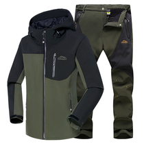 Outdoor assault suits men waterproof breathable spring and Autumn Winter sharkskin soft shell thickened pants mountaineering tide