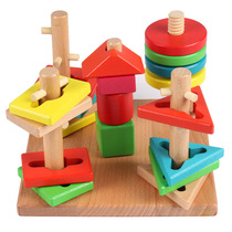 Wooden five sets of four pillars wisdom plate geometry set blocks kindergarten childrens educational toys teaching aids