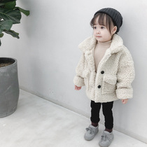 Girls coat 2020 autumn and Winter new Korean version of the female baby lamb hair foreign child plus cotton thickened hair