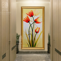 Modern minimalist porch decorative painting vertical version of the home living room aisle corridor hand-painted paintings paintings murals tulips