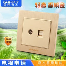86 type concealed switch socket champagne gold brushed socket panel closed circuit socket cable TV telephone socket
