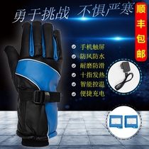 Electric heating charging gloves heating winter cold motorcycle electric car gloves men and women waterproof heating points