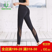 Fitness pants female high waist hip stretch pants fitness spring and summer running net red yoga pants quick dry sweat pants