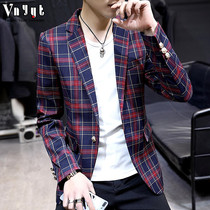 Mens British lattice suit youth Korean version of the thick suit trend casual shirt autumn and Winter small suit jacket