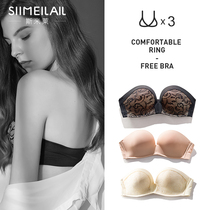 Strapless invisible bra gathered non-slip sexy strapless underwear women thin section adjustment type tube top wrap chest chest paste