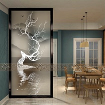 Modern tempered art glass entry screen partition wall entrance background wall living room aisle double-sided frosted elk