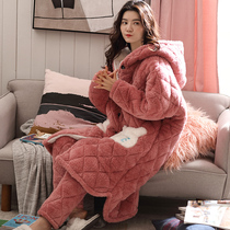 Pure Jubilee coral velvet cotton pajamas ladies winter thickened cashmere home clothes set flannel warm autumn winter