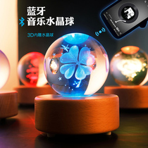 Bluetooth music box Crystal ball ornements music box wooden night light Sound creative send girls birthday gift