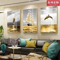 Light luxury crystal porcelain painting modern simple atmosphere living room triple decorative painting porch hanging painting background wall painting Nordic style