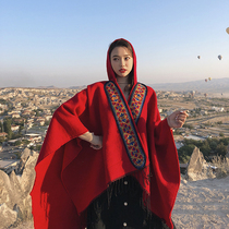 Red national wind Qinghai Yunnan tourism vacation photo cloak with a cap imitation cashmere shawl female warm scarf