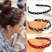 Around the hair around the clip Korean version of the lovely temperament cloth headband hoop hollow wire hand-woven head buckle wide edge