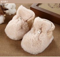 Newborn baby shoes winter birth full moon warm shoes autumn and winter protection sleeve thick cotton plus velvet soft bottom