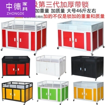 Trolleys east and west retail sales trinkets shelf stalls stalls cash register showroom folding clothing store