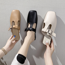 Half-slipper son-in-outer wear 2020 spring and summer new Korean version of the fashion set-up ins fashion square head Muller shoes small heel drag