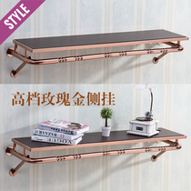 Rose gold on the wall side hanging clothing rack shelf wall shelf shelf shelf high-grade rose gold fur display stand
