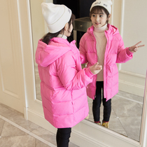 Girls down jacket in the long section of the 2018 Winter girl white duck down in the thickening slim down jacket clearance
