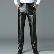 Mens autumn and winter leather pants middle-aged PU leather pants straight loose Daddy installed car waterproof oil wear