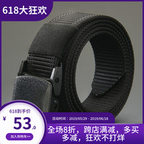 Burch and outdoor belt unisex metalless youth canvas belt fitness tactical smooth buckle nylon belt