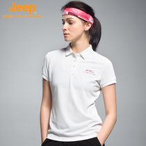 jeep Jeep polo shirt short-sleeved summer outdoor sports leisure quick-drying breathable white lapel short-sleeved T-shirt female