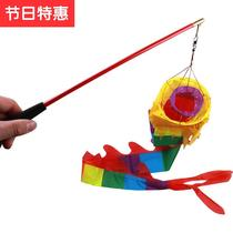 Hand dance dragon dance Dragon color f with playing Dragon swing long pole childrens square fitness single dragon dance Dragon ribbon dihydron Dragon color Dragon