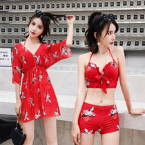 Sexy swimsuit female small chest gathered skirt three-piece red thin cover belly Korean hot spring steel bikini