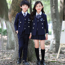 Kindergarten clothing spring and Autumn Winter British wind suit four-piece male and female childrens clothing primary school uniforms suit