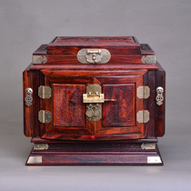 Mahogany marriage jewelry box wedding dowry female lock storage simple Chinese style home red acid jewelry box