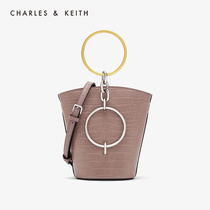 CHARLES & KEITH2019 autumn new CK2-10671031 metal ring portable shoulder bucket bag female