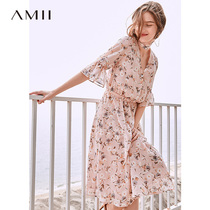 Amii minimalist French fresh girl dress 2019 summer new half open collar trumpet sleeve printed chiffon skirt