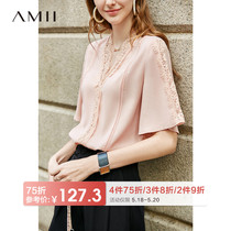 Amii minimalist Western fashion fairy chiffon shirt female 2019 summer New loose V-neck lace lace T-shirt