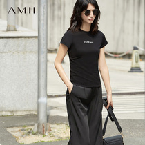 Amii LIVE Room exclusive   Amii tempérament casual slim letter short-sleeped T-shirt